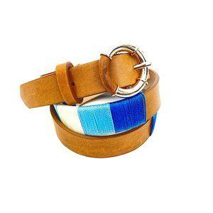 J.McLaughlin Rosa Skinny Leather Belt Natural M